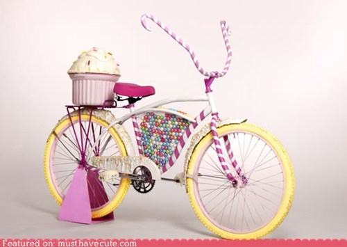 bicycle,bike,candy,cupcake,sculpture,sweet