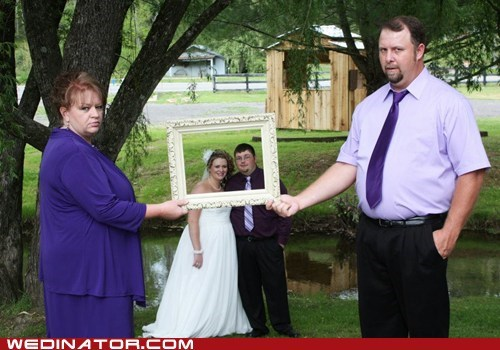 bride,frame,funny wedding photos,groom,parents,pictures