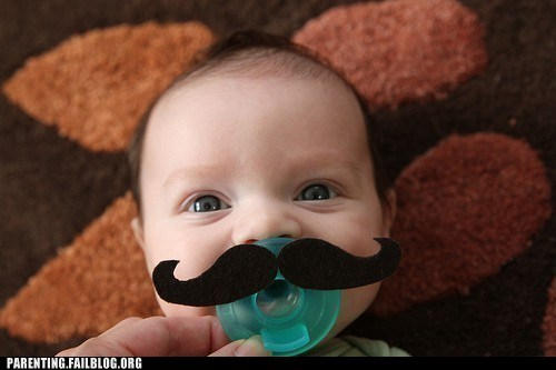 baby Hall of Fame mustache pacifier - 6158077952