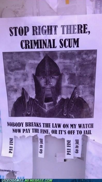 criminal scum,elder scrolls,IRL,meme,oblivion,pay fine