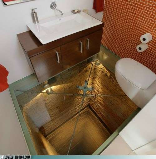 bathroom floor glass omg scary shaft wtf