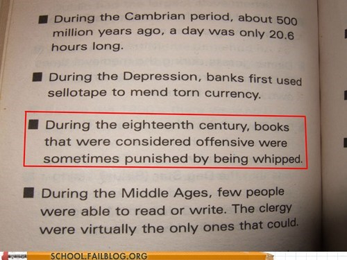 bad wording,books,offensive material,textbooks,whipping