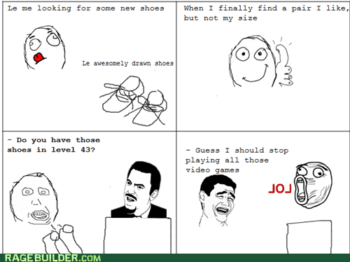 derp Rage Comics shoes video games wtf - 6158408960