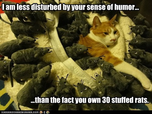 I am less disturbed by your sense of humor... ...than the fact you own 30 stuffed rats.
