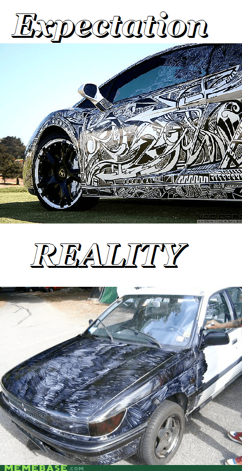 sharpie,car,expectations vs reality