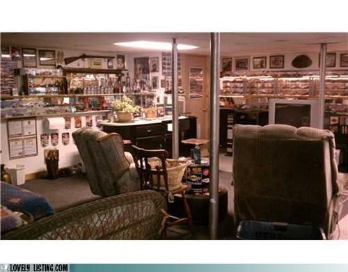basement,clutter,recliners,TV,ugly