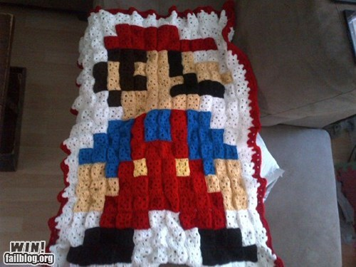 blanket crochet Knitta Please nerdgasm super mario video games