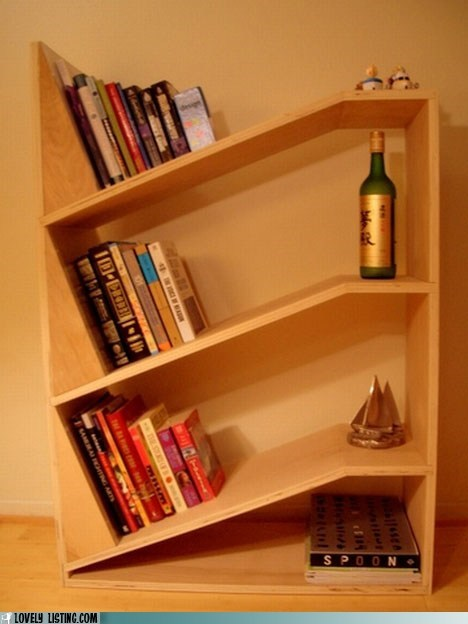 angle bookcase crooked lean shelves