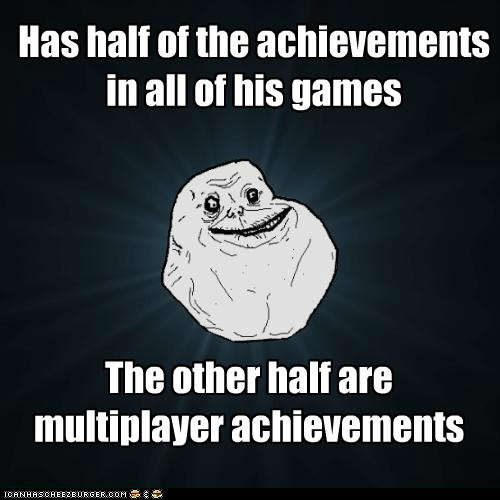 Has half of the achievements in all of his games The other half are multiplayer achievements