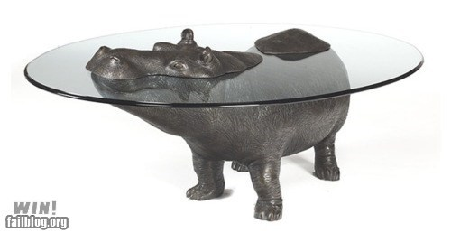 animals design furniture glass hippo table - 6161013504