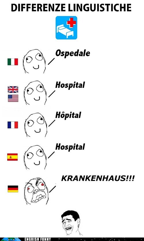 differenze linguistiche,hospital,krankenhaus
