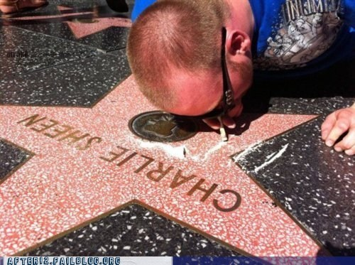 Charlie Sheen,coke,drugs,snorting,walk of fame