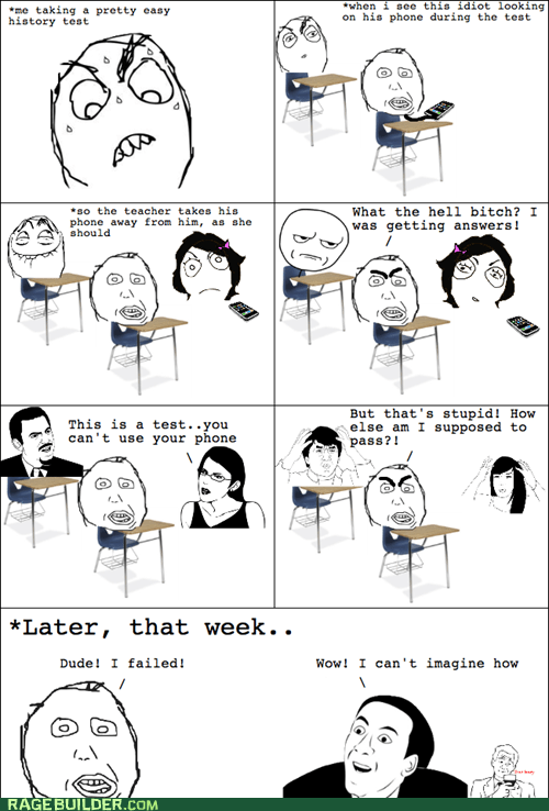cheating,failure,Rage Comics,school,teacher,test,you dont say