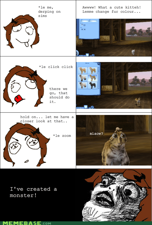cat monster Rage Comics raisin face - 6162293504