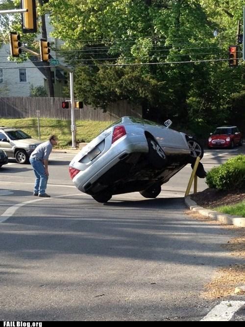 car accident car flip car on side confused driver tarffic - 6162351360