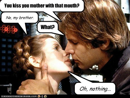 brother,carrie fisher,Han Solo,Harrison Ford,KISS,mouth,Princess Leia,star wars