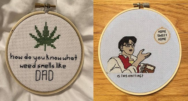 memes created by cross stitching instead of some boring meme app