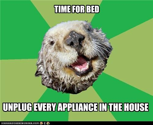 appliances,bed,Memes,ocd,OCD Otter,otters,sleep,unplug