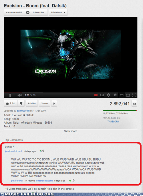 comments,dubstep,lyrics,youtube,youtube comments
