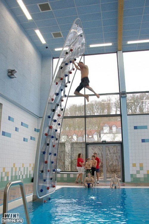 pool,pool toys,rock climbing