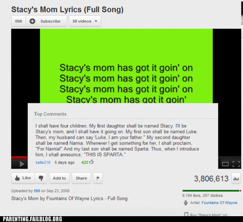 narnia,sparta,stacys-mom,star wars,youtube