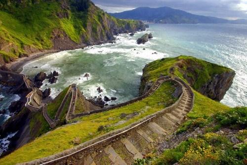cliffs,ocean,Spain,stairs