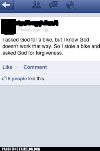 bike facebook forgiveness god