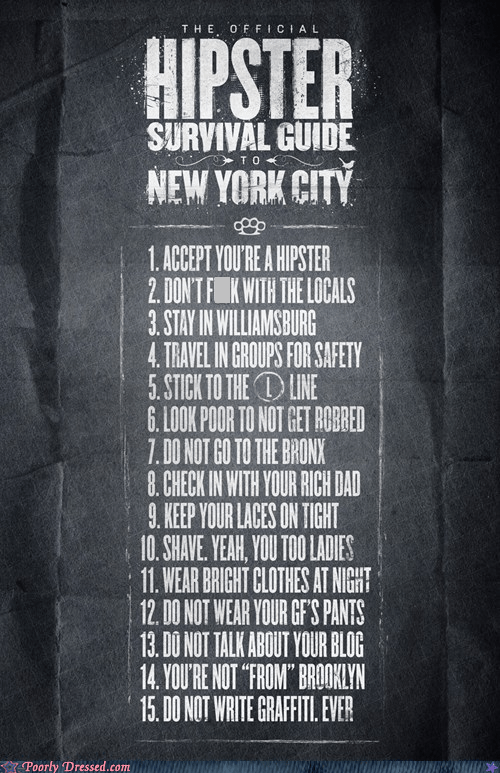 clever,hipster,nyc,poster,rules