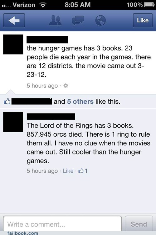 hunger games Lord of the Rings movies nerd numbers - 6165413888