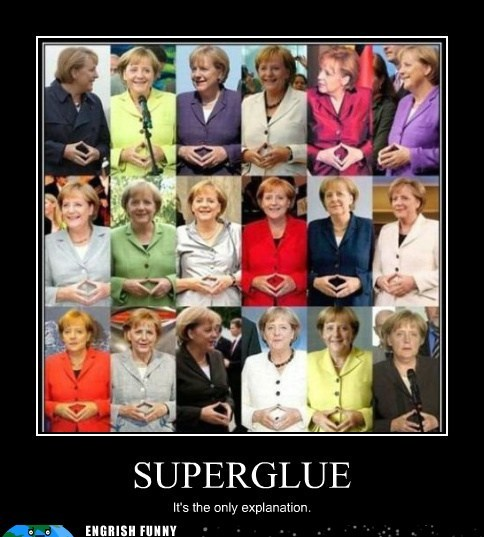 angela merkel fingers Germany superglue