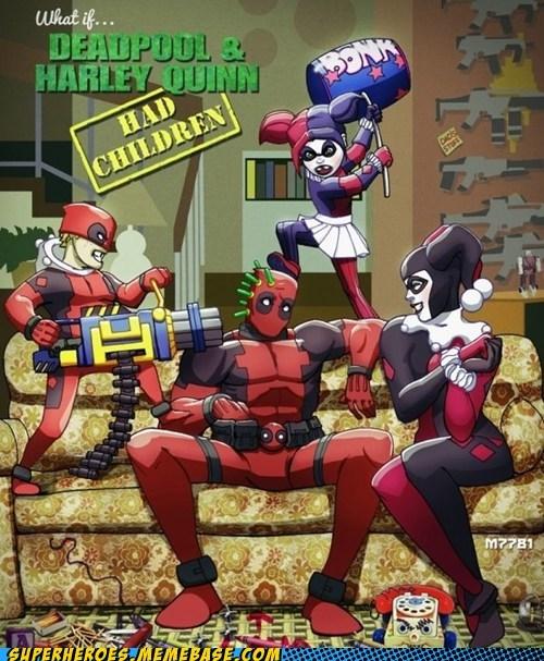 Awesome Art deadpool Harley Quinn horrible idea kids wtf - 6165908480