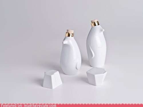 bottles,ceramic,crowns,dispensers,oil,penguin,vinegar