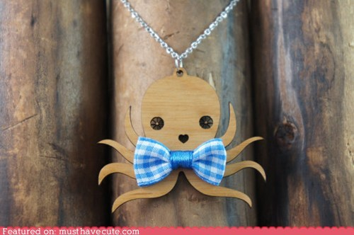 bowtie,gingham,Jewelry,necklace,octopus,pendant