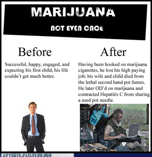 Before And After marihuana pot cigarettes