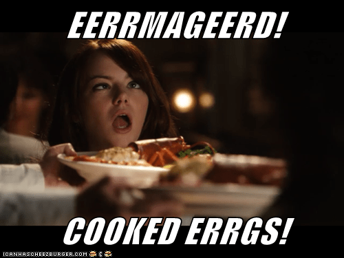 eggs,emma stone,Ermahgerd,food,lobster,Movies and Telederp