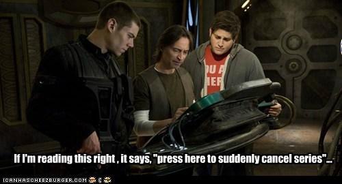 brian-j-smith button cancel matthew scott mistake nicholas rush robert carlyle series Stargate stargate universe syfy - 6169681408