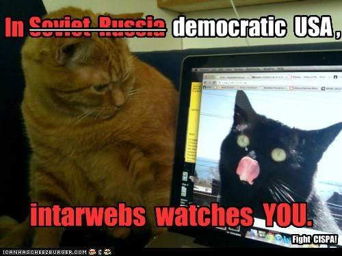 In ________ Soviet Russia democratic USA , intarwebs watches YOU. Fight CISPA!