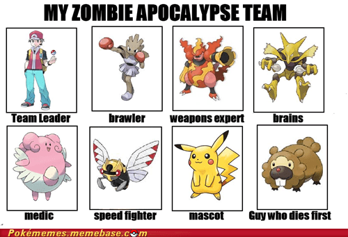 bidoof,guy who dies first,Pokémans,the internets,zombie apocalypse