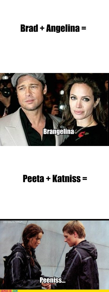 brangelina couple From the Movies hunger games katniss peen joke
