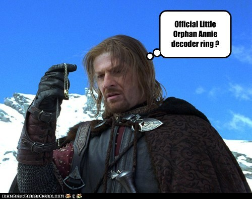 Boromir Little Orphan Annie Lord of the Rings official ovaltine ring sean bean - 6171667200