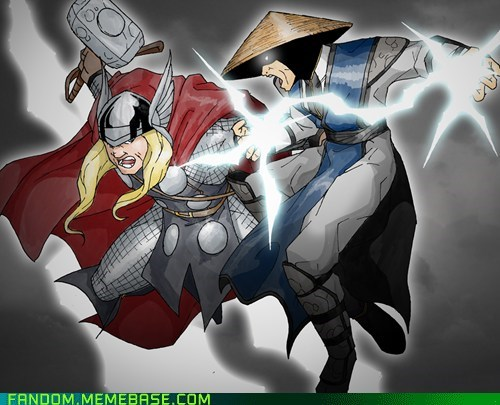 crossover,Fan Art,marvel,Mortal Kombat,raiden,Thor