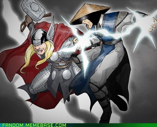 crossover Fan Art marvel Mortal Kombat raiden Thor - 6172483584
