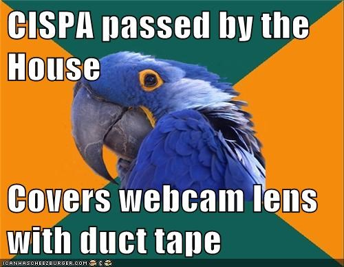 CISPA passed by the House Covers webcam lens with duct tape