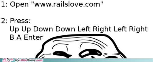 IRL,konami code,pinkie pie,railslove,troll