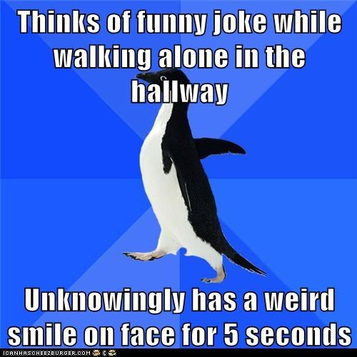 Awkward Hall of Fame jokes Memes penguins smile socially awkward penguin thinking - 6173975808