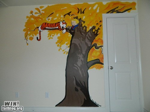 calvin and hobbes,decoration,g rated,Hall of Fame,mural,wall,win