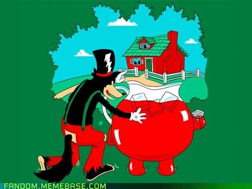Big Bad Wolf Fan Art kool-aid man three little pigs - 6174331136