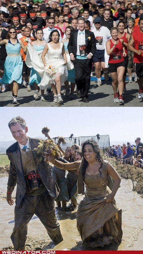 bride,funny wedding photos,groom,marathon,mud,running