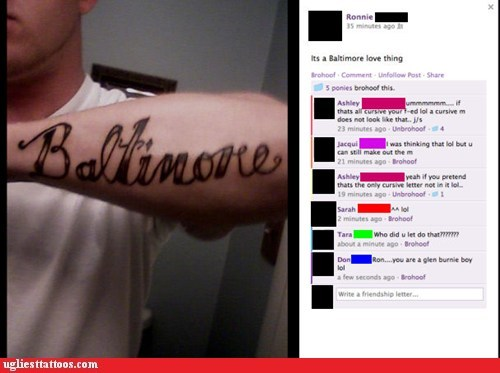 baltimore,facebook,misspelled tattoos