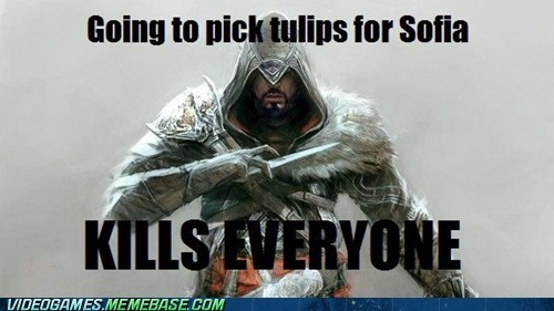 assassins creed,ezio,meme,sofia,tulips